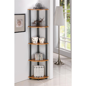 5 Tier Corner Bookcase Shelves Shelf Display Stand Rack for Multmiedia CD DVD, Display, Book - No Tool Assembly - Light Cherry Finish