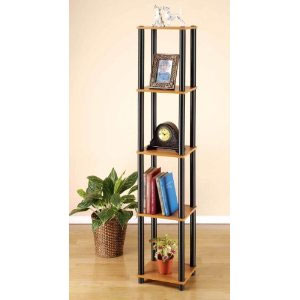 5 Tier Corner Bookcase Bookshelves Shelves Stand Display Rack Hold for Multimedia CD DVD, Display, Book, Light Cherry Finish