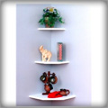 "Creative Connectors 9.5"" Invisible Mount White Wooden Corner Shelf"