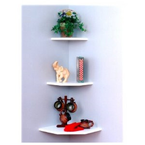 Creative Connectors Invisible Mount White Wooden Corner Shelf