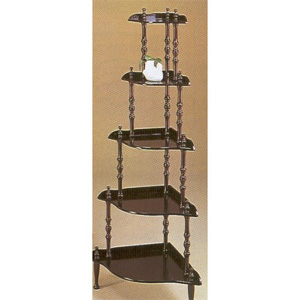 Five-tier Wall Unit Corner Rack Stand Dark Walnut Finish Wood
