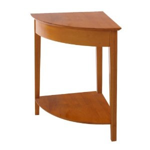 Winsome Wood Corner Desk with Shelf, Honey