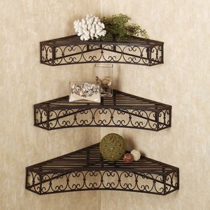 Tuscan Wrought Iron Corner Shelves Set